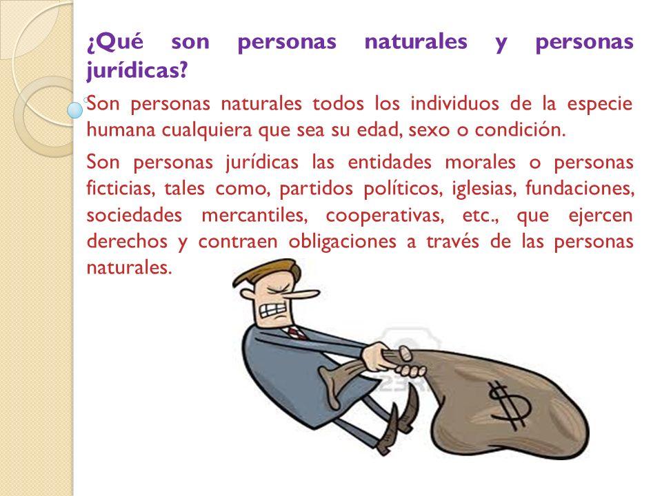 ¿Qué son personas naturales y personas jurídicas.