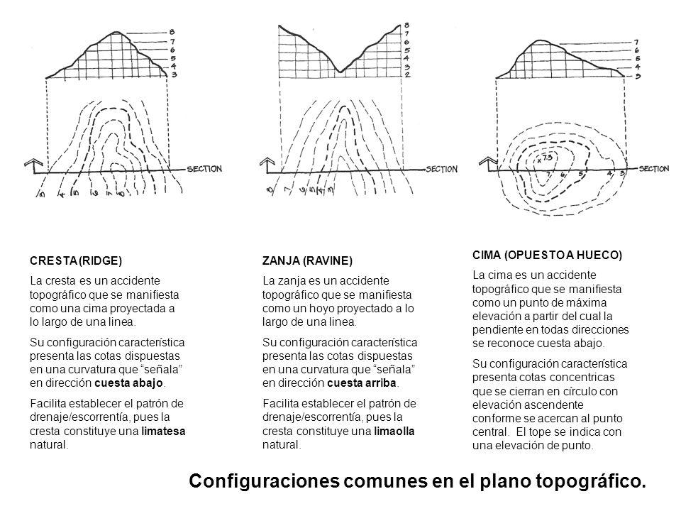 Configuraciones comunes en el plano topográfico. CRESTA (RIDGE) La cresta es un accidente topográfico que se manifiesta como una cima proyectada a lo