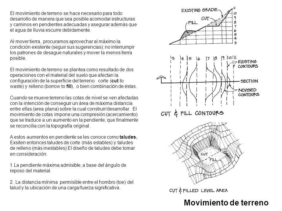 Movimiento de terreno El movimiento de terreno se hace necesario para todo desarrollo de manera que sea posible acomodar estructuras y caminos en pend