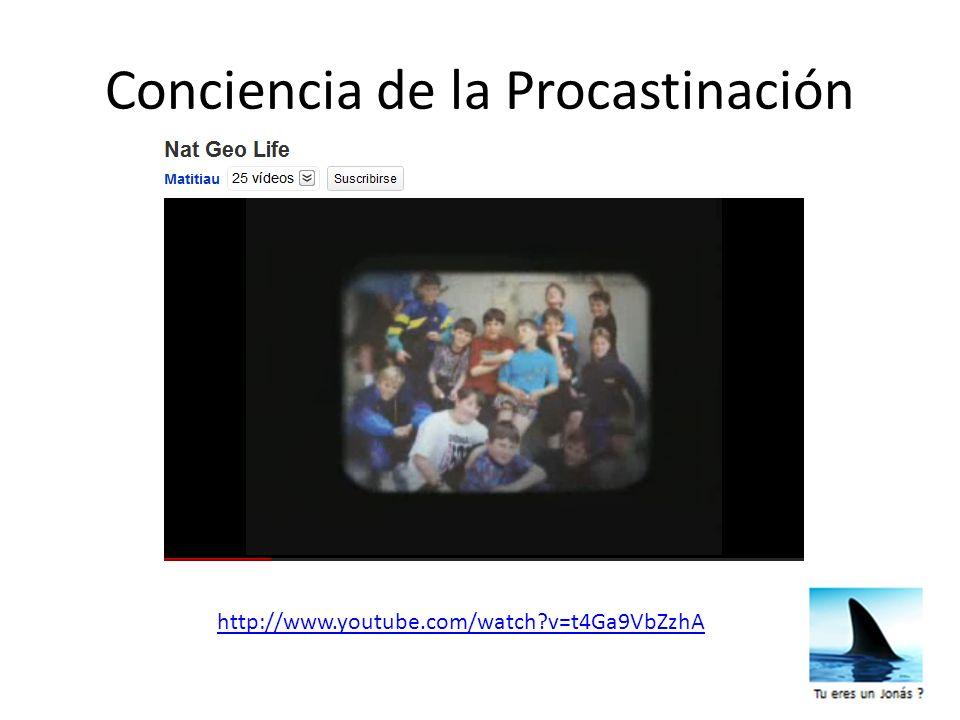 Conciencia de la Procastinación http://www.youtube.com/watch?v=t4Ga9VbZzhA
