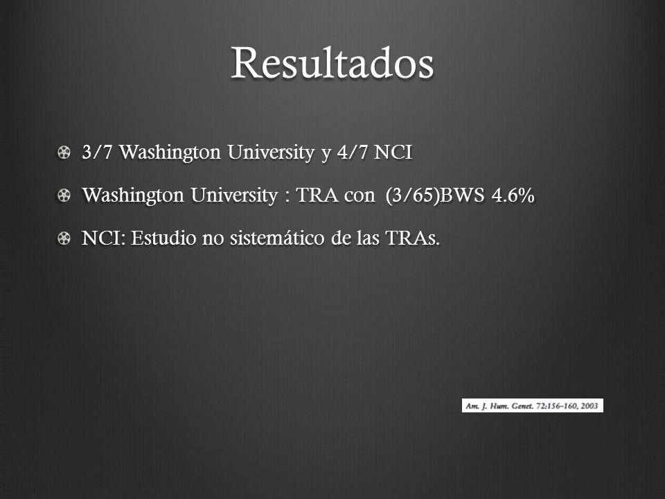 Resultados 3/7 Washington University y 4/7 NCI Washington University : TRA con (3/65)BWS 4.6% NCI: Estudio no sistemático de las TRAs.