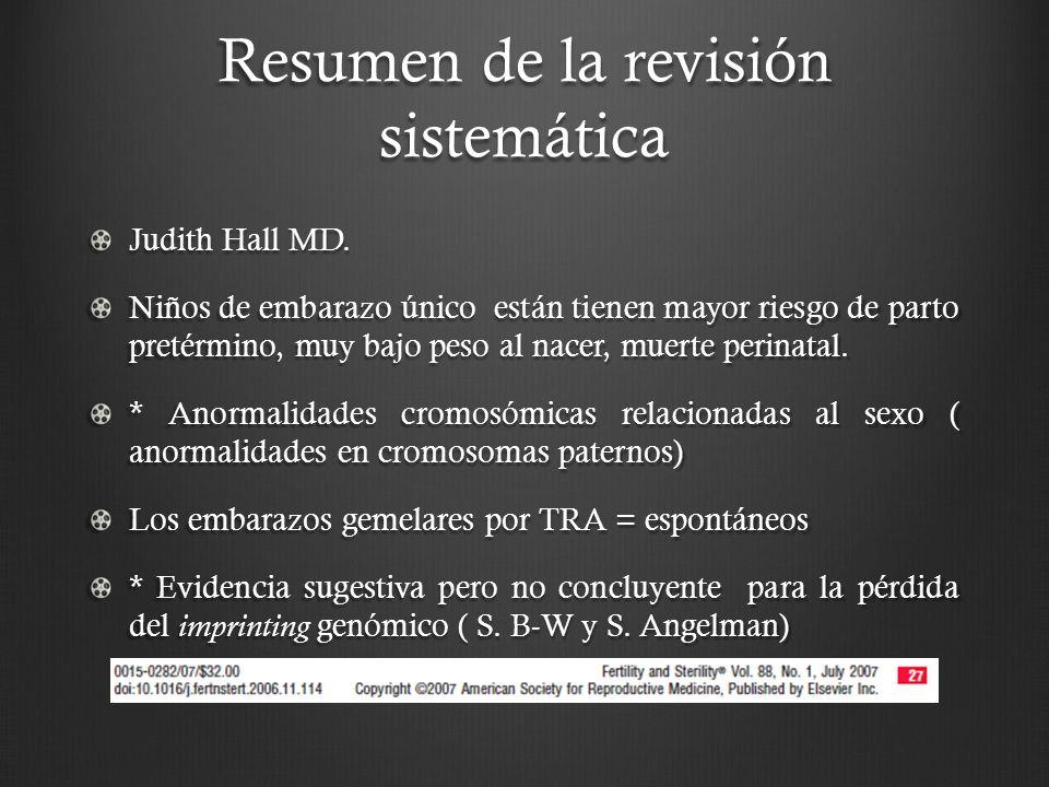 Resumen de la revisión sistemática Judith Hall MD.