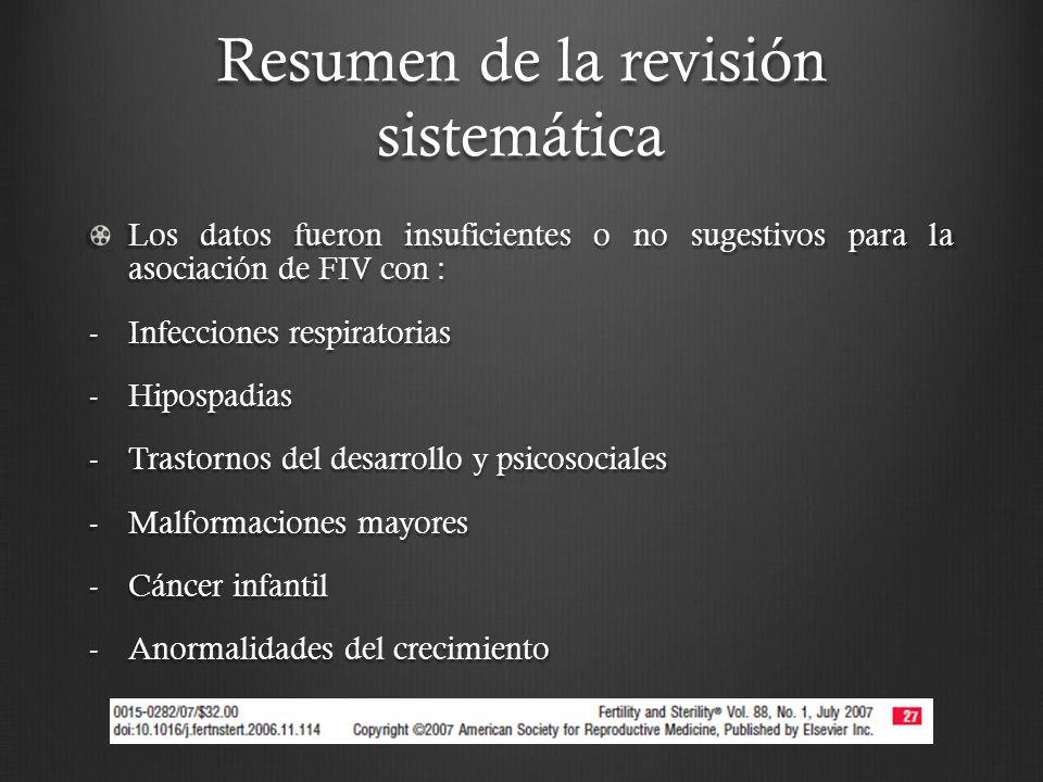 Resumen de la revisión sistemática Los datos fueron insuficientes o no sugestivos para la asociación de FIV con : -Infecciones respiratorias -Hipospadias -Trastornos del desarrollo y psicosociales -Malformaciones mayores -Cáncer infantil -Anormalidades del crecimiento