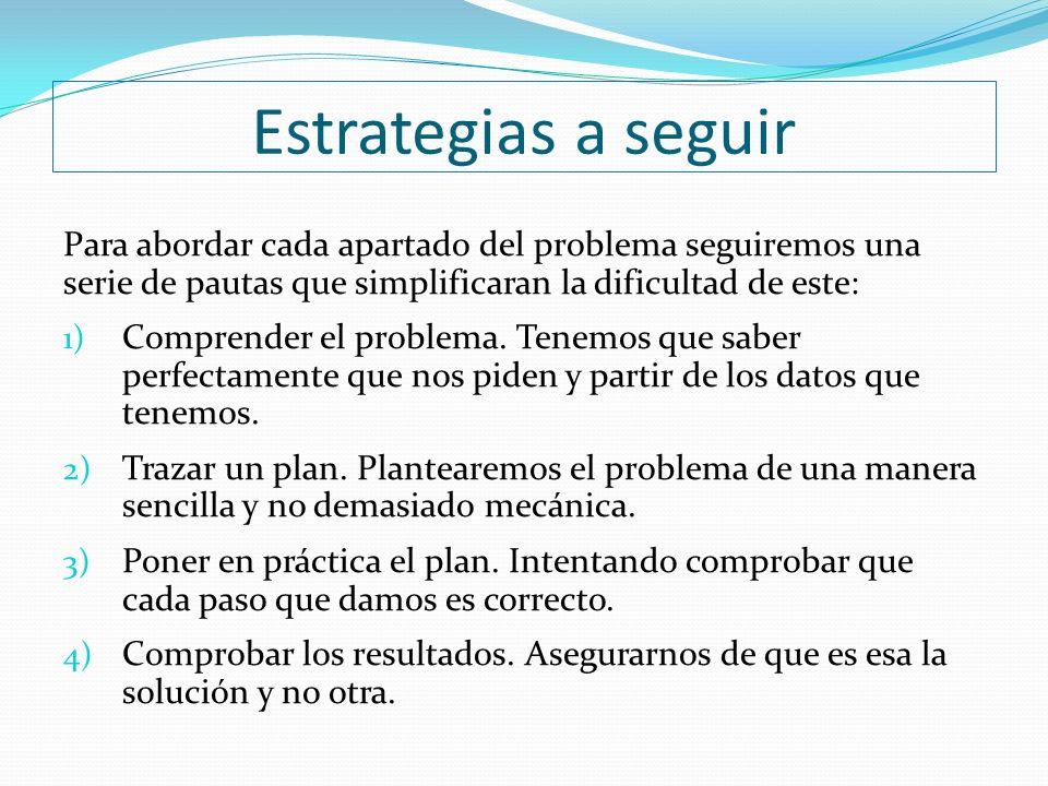 Estrategias a seguir Para abordar cada apartado del problema seguiremos una serie de pautas que simplificaran la dificultad de este: 1) Comprender el problema.