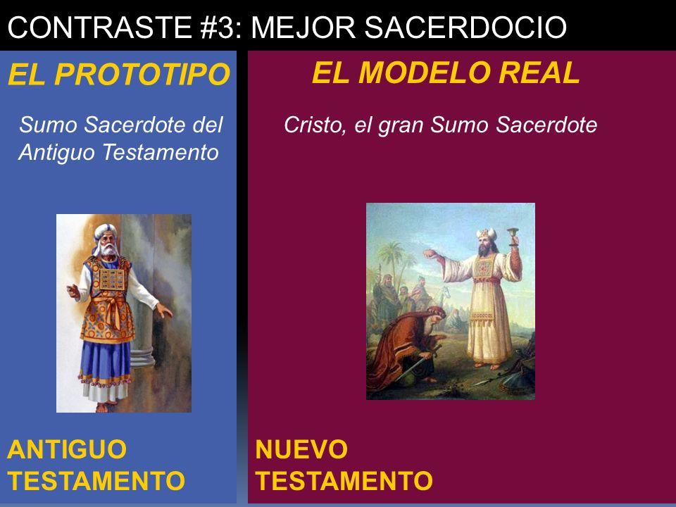 NUEVO TESTAMENTO ANTIGUO TESTAMENTO CONTRASTE #3: MEJOR SACERDOCIO EL PROTOTIPO EL MODELO REAL Sumo Sacerdote del Antiguo Testamento Cristo, el gran S