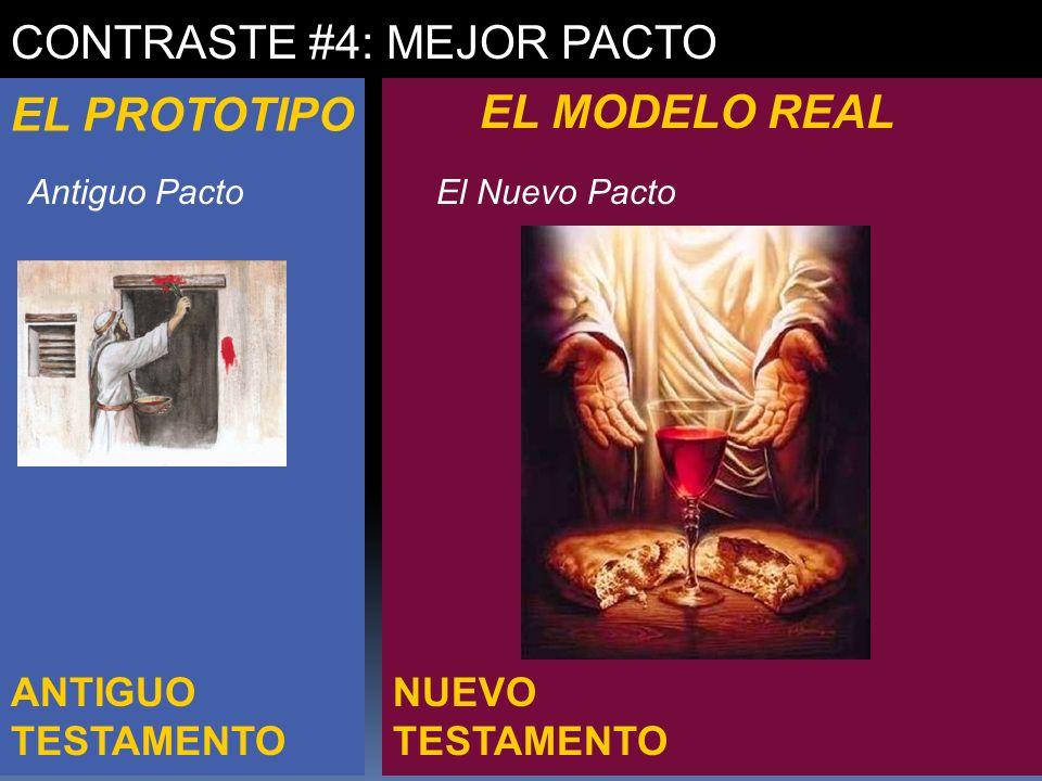 NUEVO TESTAMENTO ANTIGUO TESTAMENTO CONTRASTE #4: MEJOR PACTO EL PROTOTIPO EL MODELO REAL Antiguo PactoEl Nuevo Pacto