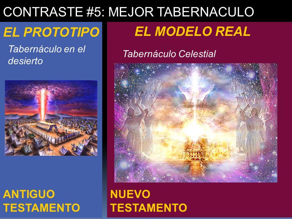 NUEVO TESTAMENTO ANTIGUO TESTAMENTO CONTRASTE #5: MEJOR TABERNACULO EL PROTOTIPO EL MODELO REAL Tabernáculo en el desierto Tabernáculo Celestial