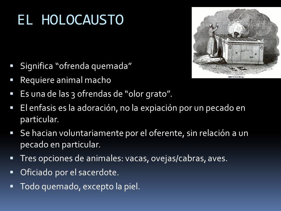 EL HOLOCAUSTO Significa ofrenda quemada Requiere animal macho Es una de las 3 ofrendas de olor grato. El enfasis es la adoración, no la expiación por