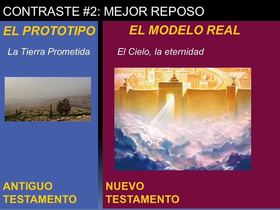 NUEVO TESTAMENTO ANTIGUO TESTAMENTO CONTRASTE #2: MEJOR REPOSO EL PROTOTIPO EL MODELO REAL La Tierra PrometidaEl Cielo, la eternidad