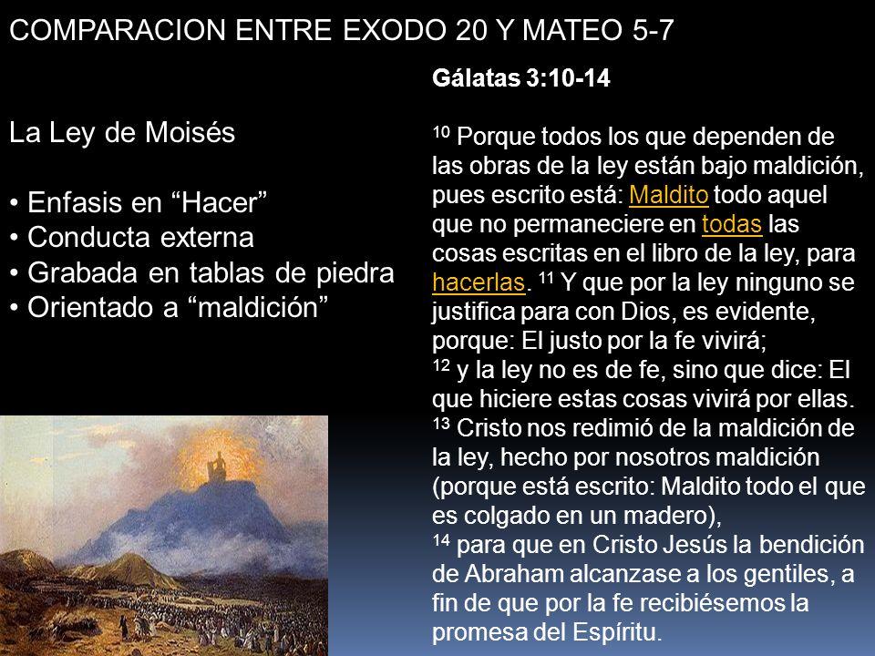 COMPARACION ENTRE EXODO 20 Y MATEO 5-7 La Ley de Moisés Enfasis en Hacer Conducta externa Grabada en tablas de piedra Orientado a maldición Gálatas 3: