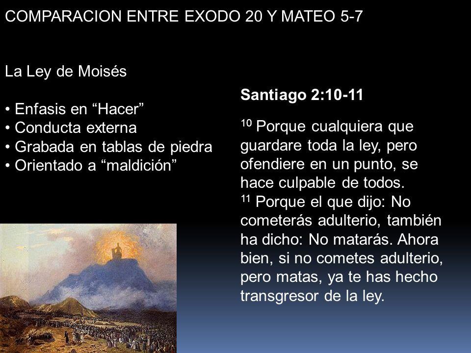 COMPARACION ENTRE EXODO 20 Y MATEO 5-7 La Ley de Moisés Enfasis en Hacer Conducta externa Grabada en tablas de piedra Orientado a maldición Santiago 2