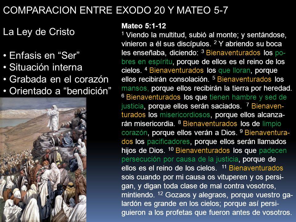 COMPARACION ENTRE EXODO 20 Y MATEO 5-7 La Ley de Cristo Enfasis en Ser Situación interna Grabada en el corazón Orientado a bendición Mateo 5:1-12 1 Vi