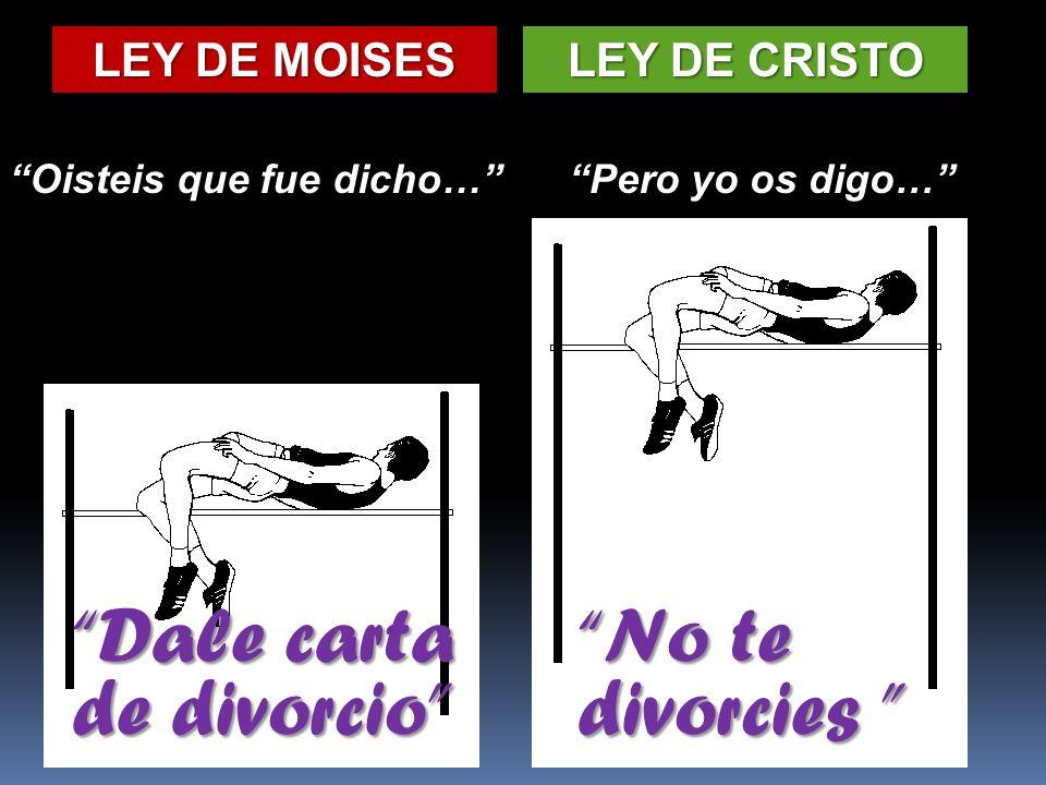 LEY DE MOISES LEY DE CRISTO Oisteis que fue dicho…Pero yo os digo… Dale carta de divorcio No te divorcies No te divorcies