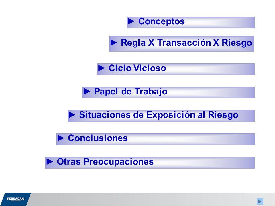 Regla X Transacción X Riesgo Ciclo Vicioso Situaciones de Exposición al Riesgo Conceptos Otras Preocupaciones Papel de Trabajo Conclusiones