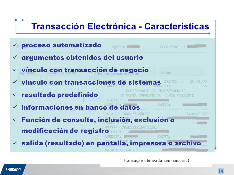 Transacción Electrónica - Características proceso automatizado argumentos obtenidos del usuario vínculo con transacción de negocio vínculo con transacciones de sistemas resultado predefinido informaciones en banco de datos Función de consulta, inclusión, exclusión o modificación de registro salida (resultado) en pantalla, impresora o archivo