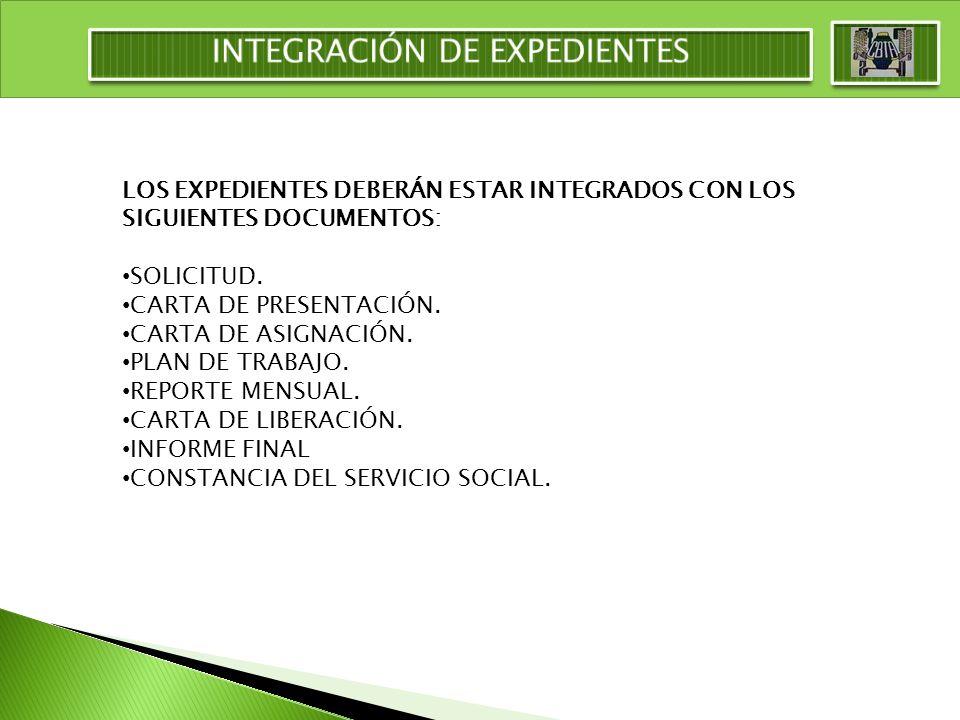 LOS EXPEDIENTES DEBERÁN ESTAR INTEGRADOS CON LOS SIGUIENTES DOCUMENTOS: SOLICITUD. CARTA DE PRESENTACIÓN. CARTA DE ASIGNACIÓN. PLAN DE TRABAJO. REPORT