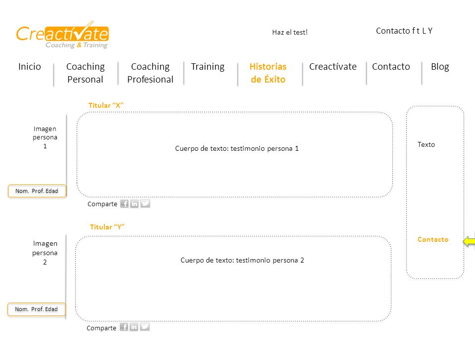 InicioCoaching Personal Coaching Profesional TrainingHistorias de Éxito CreactívateContactoBlog Haz el test! Contacto f t L Y Poner un hiperlink que l