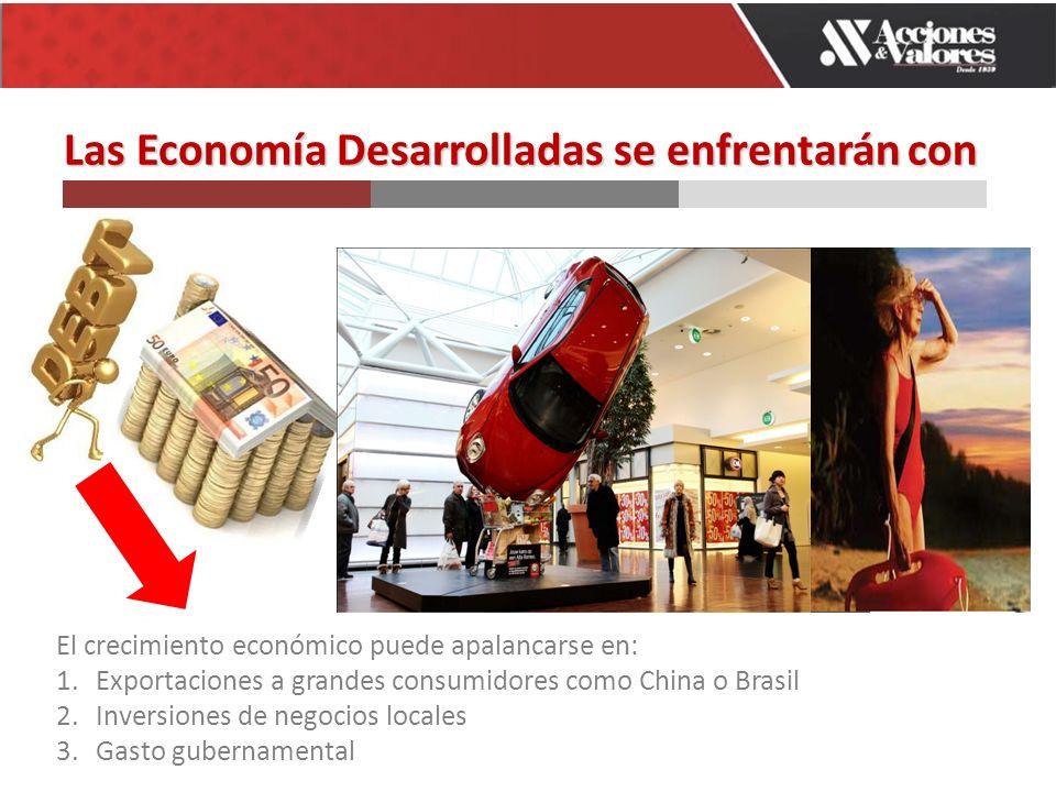 LasEconomía Desarrolladas se enfrentarán con Las Economía Desarrolladas se enfrentarán con El crecimiento económico puede apalancarse en: 1.Exportaciones a grandes consumidores como China o Brasil 2.Inversiones de negocios locales 3.Gasto gubernamental