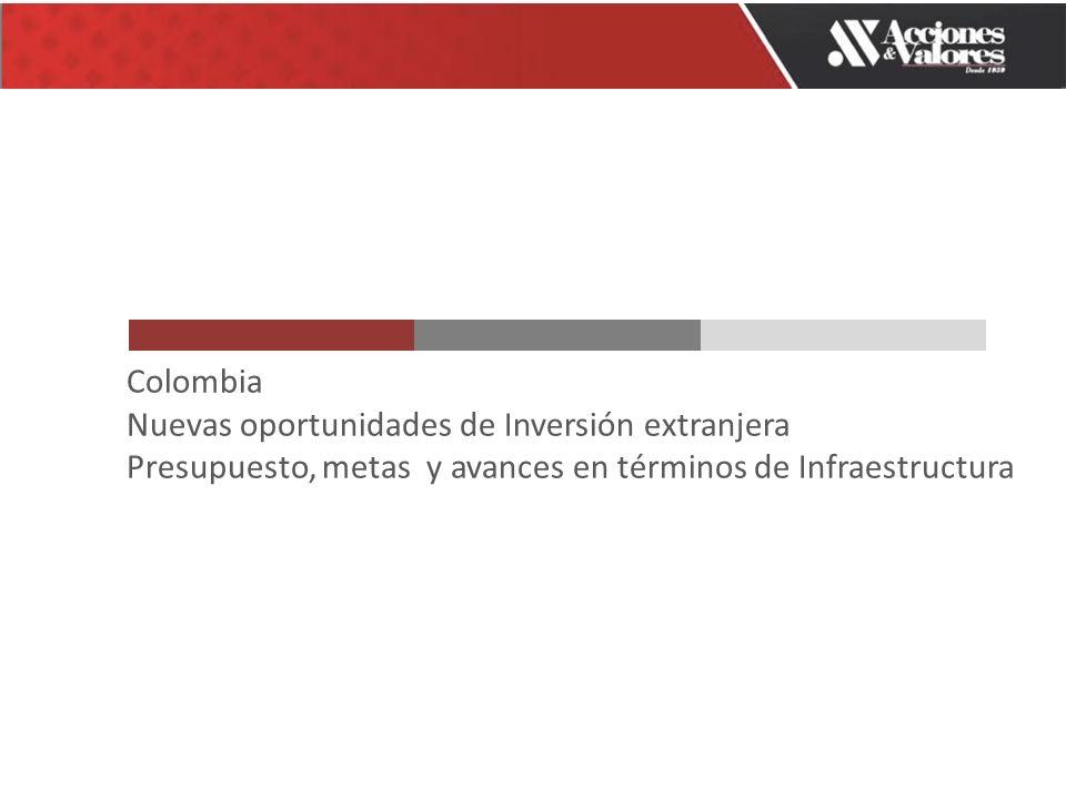 Colombia Nuevas oportunidades de Inversión extranjera Presupuesto, metas y avances en términos de Infraestructura
