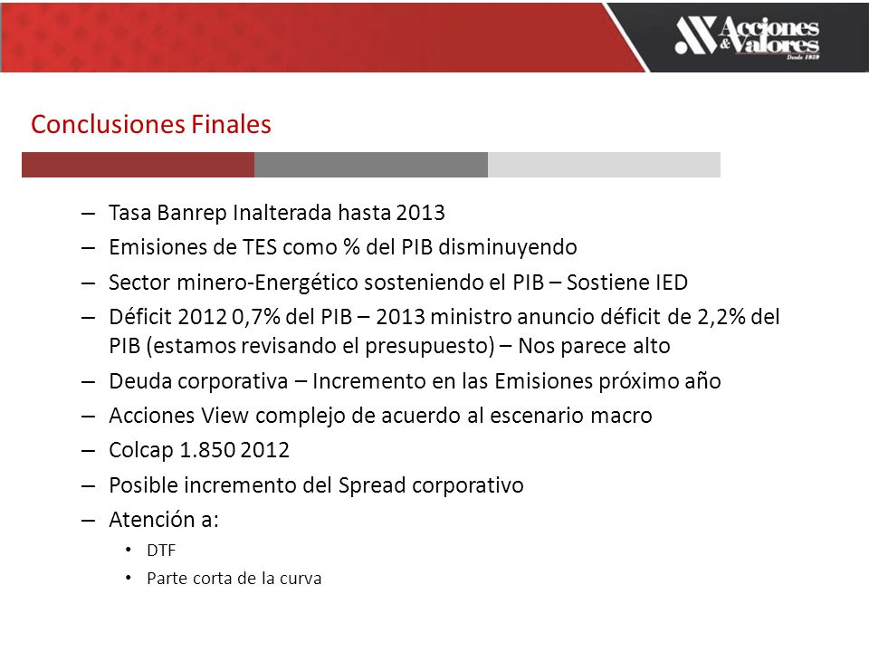 Conclusiones Finales – Tasa Banrep Inalterada hasta 2013 – Emisiones de TES como % del PIB disminuyendo – Sector minero-Energético sosteniendo el PIB – Sostiene IED – Déficit 2012 0,7% del PIB – 2013 ministro anuncio déficit de 2,2% del PIB (estamos revisando el presupuesto) – Nos parece alto – Deuda corporativa – Incremento en las Emisiones próximo año – Acciones View complejo de acuerdo al escenario macro – Colcap 1.850 2012 – Posible incremento del Spread corporativo – Atención a: DTF Parte corta de la curva