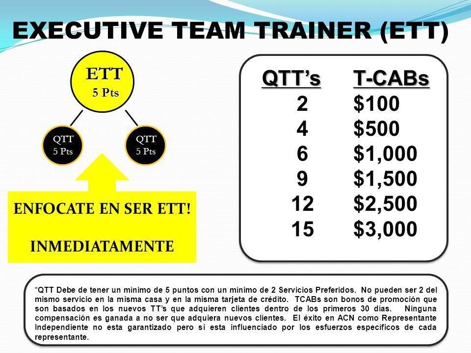 EXECUTIVE TEAM TRAINER (ETT) QTTs 2 4 6 9 12 15T-CABs $100 $500 $1,000 $1,500 $2,500 $3,000 *QTT Debe de tener un mínimo de 5 puntos con un mínimo de 2 Servicios Preferidos.