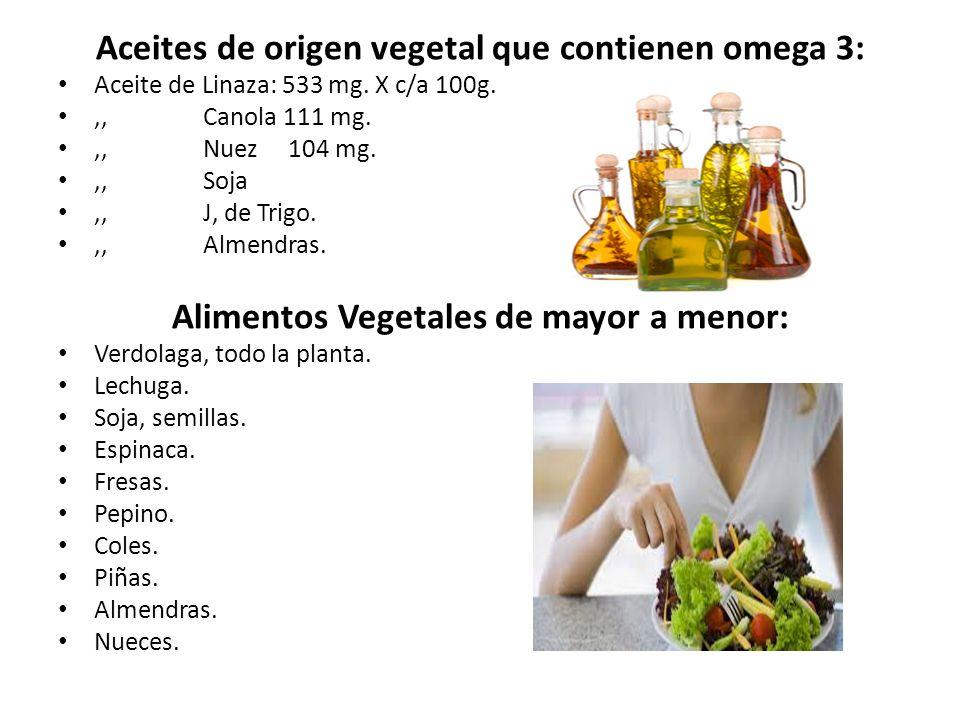 Aceites de origen vegetal que contienen omega 3: Aceite de Linaza: 533 mg. X c/a 100g.,, Canola 111 mg.,, Nuez 104 mg.,, Soja,, J, de Trigo.,, Almendr