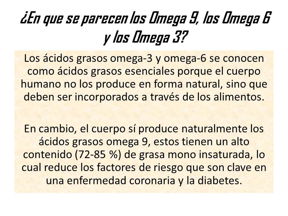 ¿En que se parecen los Omega 9, los Omega 6 y los Omega 3? Los ácidos grasos omega-3 y omega-6 se conocen como ácidos grasos esenciales porque el cuer