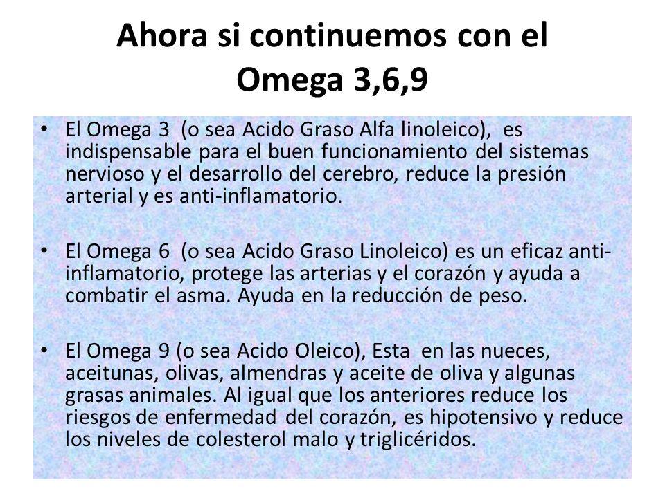Ahora si continuemos con el Omega 3,6,9 El Omega 3 (o sea Acido Graso Alfa linoleico), es indispensable para el buen funcionamiento del sistemas nervi