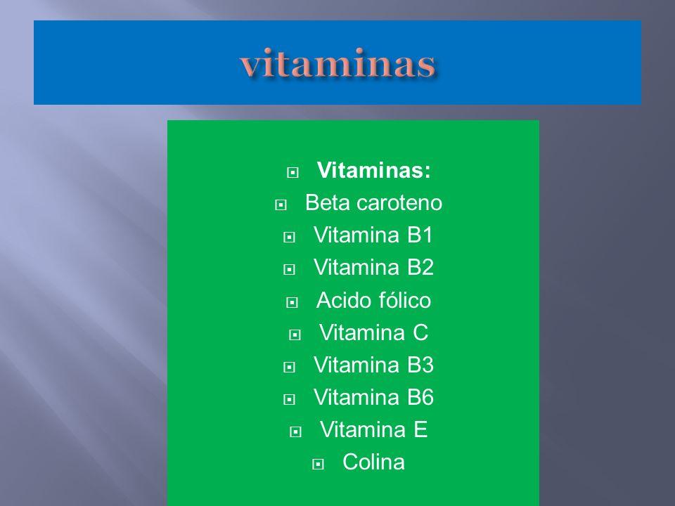 Vitaminas: Beta caroteno Vitamina B1 Vitamina B2 Acido fólico Vitamina C Vitamina B3 Vitamina B6 Vitamina E Colina