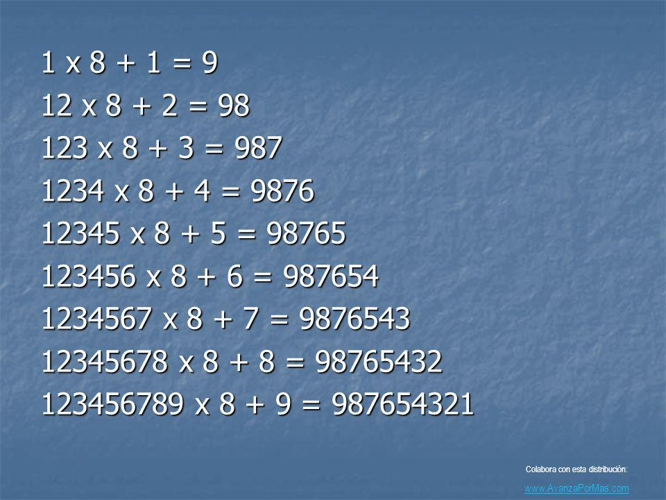 1 x 8 + 1 = 9 12 x 8 + 2 = 98 123 x 8 + 3 = 987 1234 x 8 + 4 = 9876 12345 x 8 + 5 = 98765 123456 x 8 + 6 = 987654 1234567 x 8 + 7 = 9876543 12345678 x 8 + 8 = 98765432 123456789 x 8 + 9 = 987654321 Colabora con esta distribución: www.AvanzaPorMas.com