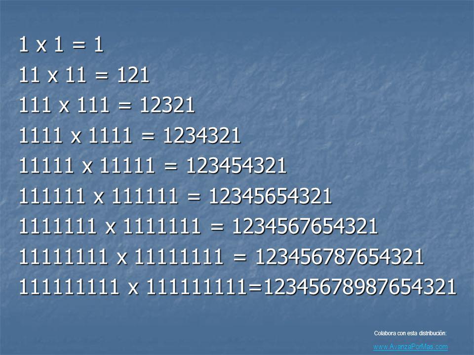 1 x 1 = 1 11 x 11 = 121 111 x 111 = 12321 1111 x 1111 = 1234321 11111 x 11111 = 123454321 111111 x 111111 = 12345654321 1111111 x 1111111 = 1234567654321 11111111 x 11111111 = 123456787654321 111111111 x 111111111=12345678987654321 Colabora con esta distribución: www.AvanzaPorMas.com