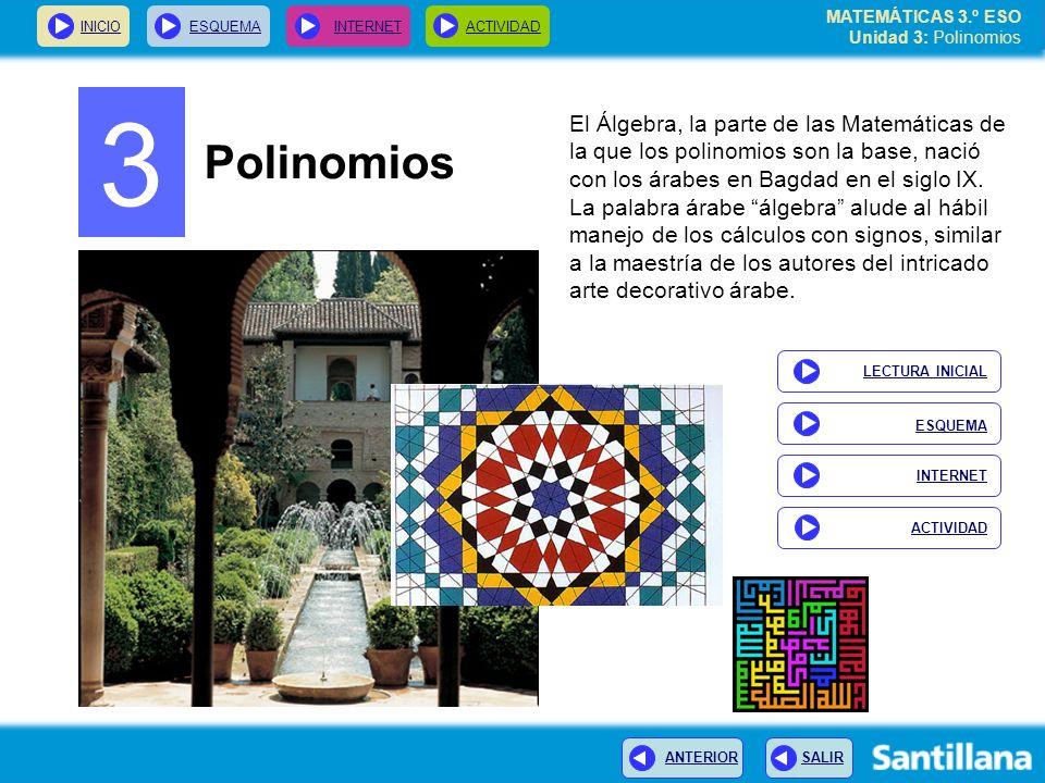 INICIOESQUEMA INTERNETACTIVIDAD ANTERIOR SALIR 3 Polinomios El Álgebra, la parte de las Matemáticas de la que los polinomios son la base, nació con los árabes en Bagdad en el siglo IX.