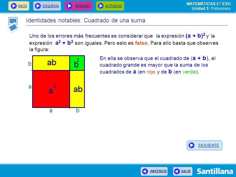 INICIOESQUEMA INTERNETACTIVIDAD ANTERIOR SALIR Identidades notables: Cuadrado de una suma Uno de los errores más frecuentes es considerar que la expresión (a + b) 2 y la expresión a 2 + b 2 son iguales.