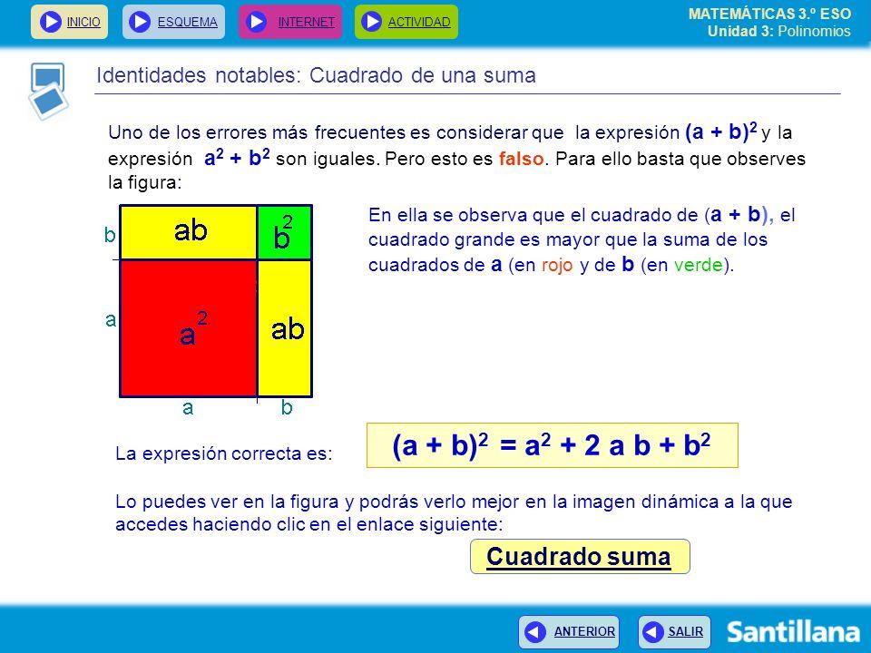 INICIOESQUEMA INTERNETACTIVIDAD ANTERIOR SALIR Identidades notables: Cuadrado de una suma (a + b) 2 = a 2 + 2 a b + b 2 Uno de los errores más frecuentes es considerar que la expresión (a + b) 2 y la expresión a 2 + b 2 son iguales.