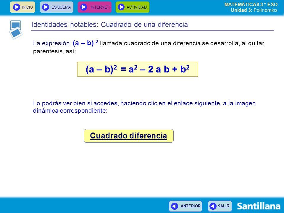 INICIOESQUEMA INTERNETACTIVIDAD ANTERIOR SALIR Identidades notables: Cuadrado de una diferencia La expresión (a – b) 2 llamada cuadrado de una diferencia se desarrolla, al quitar paréntesis, así: (a – b) 2 = a 2 – 2 a b + b 2 Lo podrás ver bien si accedes, haciendo clic en el enlace siguiente, a la imagen dinámica correspondiente: Cuadrado diferencia MATEMÁTICAS 3.º ESO Unidad 3: Polinomios