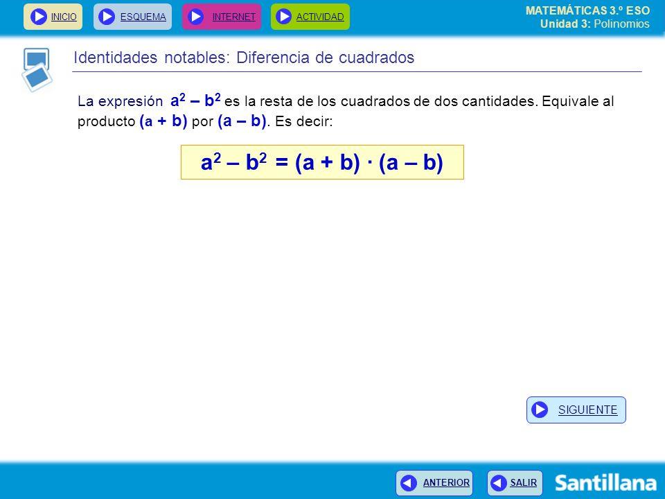 INICIOESQUEMA INTERNETACTIVIDAD ANTERIOR SALIR Identidades notables: Diferencia de cuadrados La expresión a 2 – b 2 es la resta de los cuadrados de do