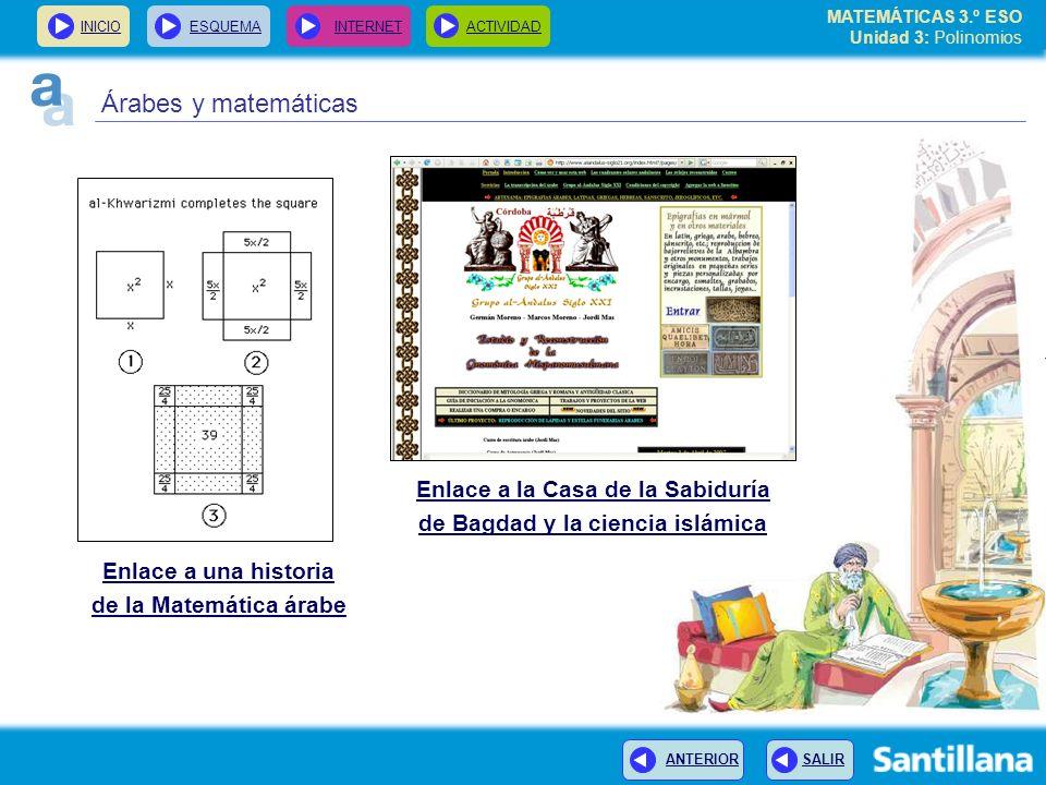 INICIOESQUEMA INTERNETACTIVIDAD ANTERIOR SALIR Enlace a una historia de la Matemática árabe Enlace a la Casa de la Sabiduría de Bagdad y la ciencia islámica MATEMÁTICAS 3.º ESO Unidad 3: Polinomios Árabes y matemáticas