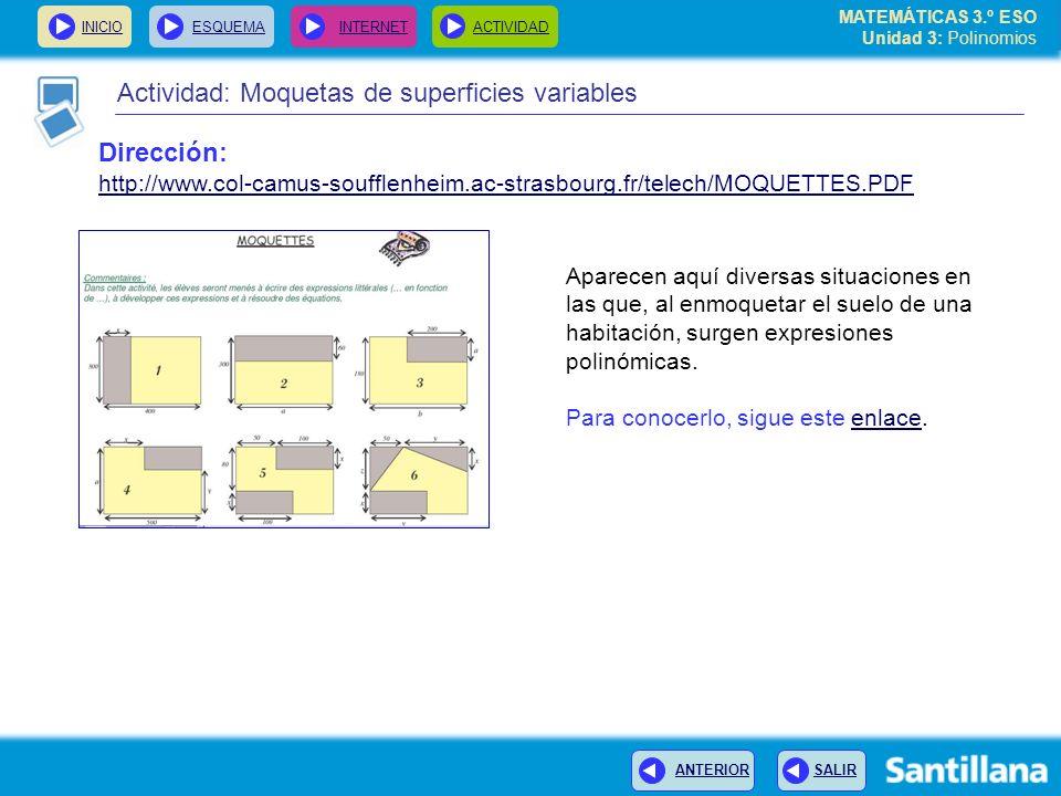 INICIOESQUEMA INTERNETACTIVIDAD ANTERIOR SALIR Actividad: Moquetas de superficies variables Aparecen aquí diversas situaciones en las que, al enmoquet