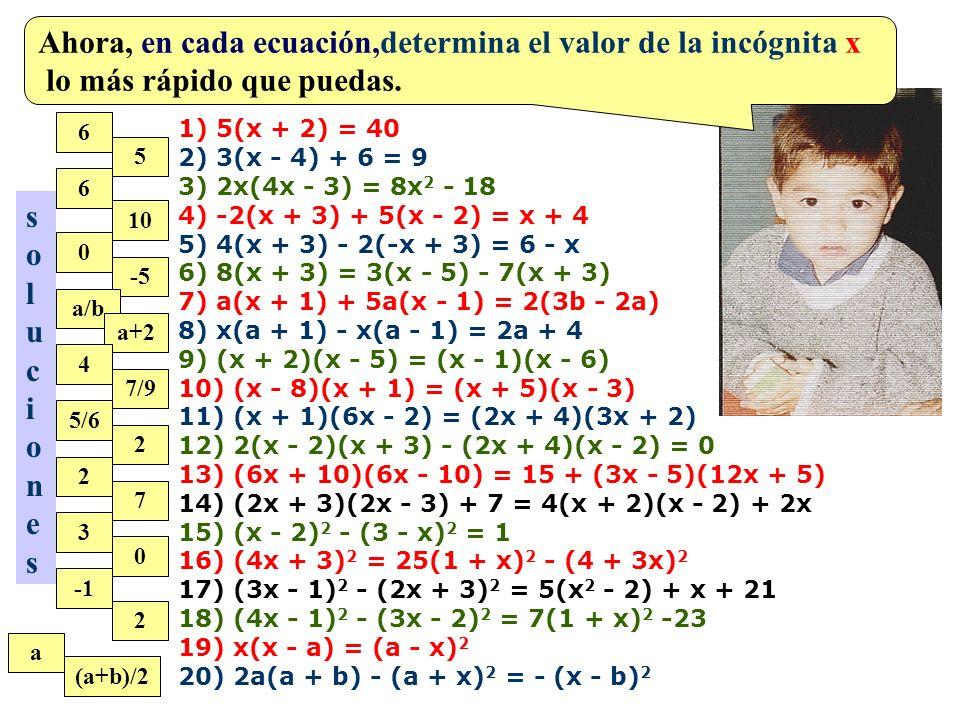 a) (a + 3)(a - 3) b) (x + 7)(x - 7) c) (m - 12)(m + 12) d) (y + 27)(y - 27) e) (2a - 6)(2a + 6) f) (3x - 4y)(3x + 4y) g) (4mn + 7pq)(4mn - 7pq) h) (a 2 + b 2 )(a 2 - b 2 ) i) (5x 2 - 8y 2 )(5x 2 + 8y 2 ) j) (0,4p + 1,2q)(0,4p - 1,2q) k) (2/5 m + 3/4 n)(2/5 m - 3/4 n) l) (1 - 3/8 a)(1 + 3/8 a) ¡Efectúa, lo más rápido que puedas, cada uno de los productos.