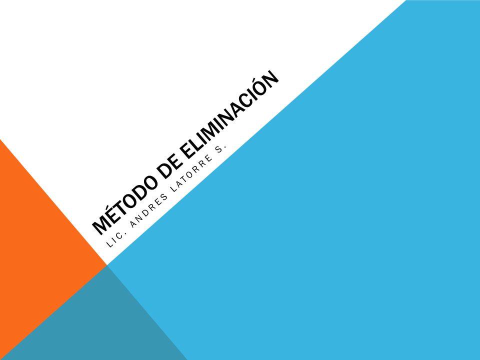 MÉTODO DE ELIMINACIÓN LIC. ANDRES LATORRE S.