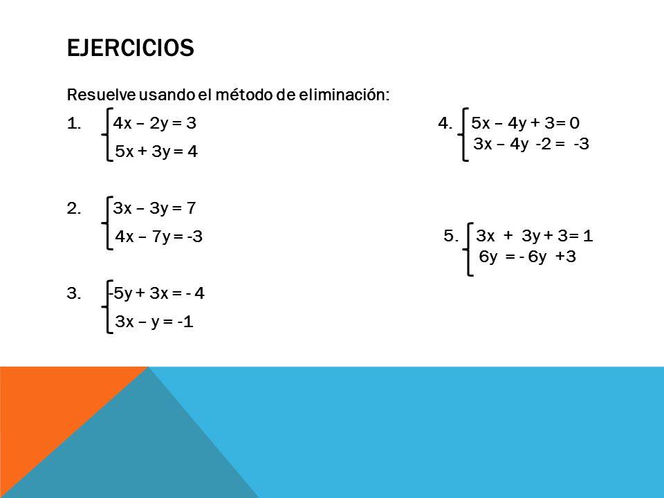 EJERCICIOS Resuelve usando el método de eliminación: 1.