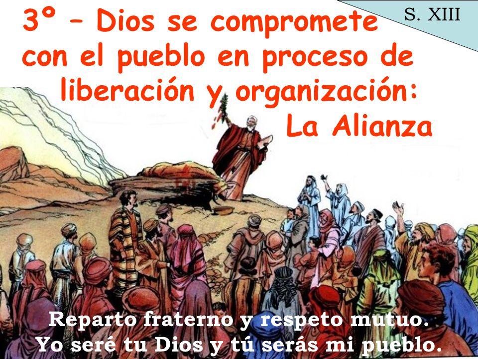 3º – Dios se compromete con el pueblo en proceso de liberación y organización: La Alianza Reparto fraterno y respeto mutuo. Yo seré tu Dios y tú serás