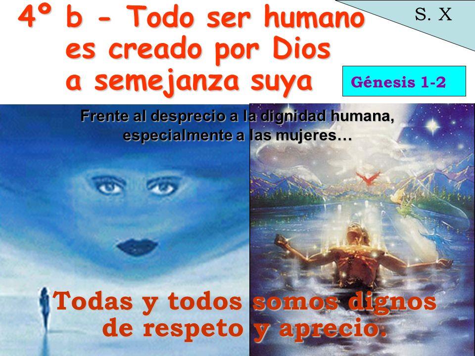 Génesis 1-2 S. X odas Todas y todos somos dignos de respeto y aprecio. 4º b - Todo ser humano es creado por Dios a semejanza suya Frente al desprecio