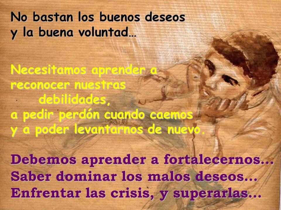 No bastan los buenos deseos y la buena voluntad… Debemos aprender a fortalecernos… Saber dominar los malos deseos… Enfrentar las crisis, y superarlas…