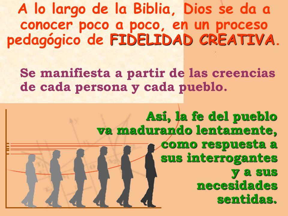 FIDELIDAD CREATIVA A lo largo de la Biblia, Dios se da a conocer poco a poco, en un proceso pedagógico de FIDELIDAD CREATIVA.Así, la fe del pueblo va