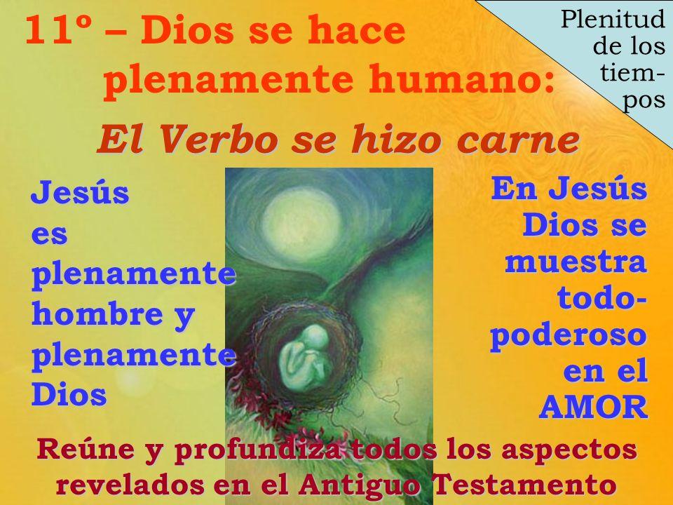 En Jesús Dios se muestra todo- poderoso en el AMOR Plenitud de los tiem- pos El Verbo se hizo carne 11º – Dios se hace plenamente humano:Reúne y profu
