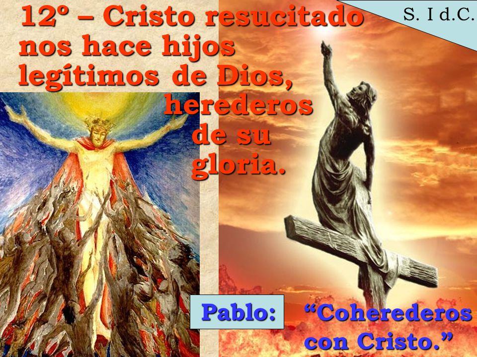 S. I d.C. 12º – Cristo resucitado nos hace hijos legítimos de Dios, herederos herederos de su de su gloria. gloria.Pablo: Coherederos con Cristo.