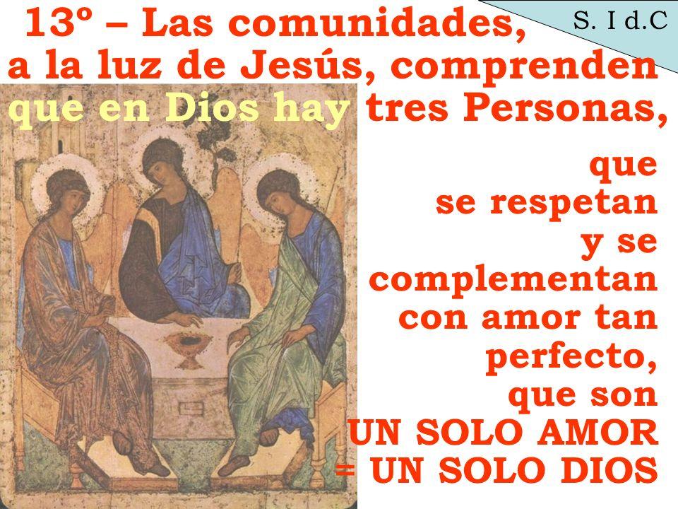 S. I d.C que se respetan y se complementan con amor tan perfecto, que son UN SOLO AMOR = UN SOLO DIOS 13º – Las comunidades, a la luz de Jesús, compre