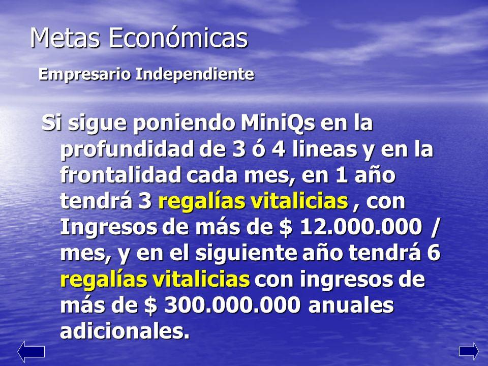 Metas Económicas Empresario Independiente Si sigue poniendo MiniQs en la profundidad de 3 ó 4 lineas y en la frontalidad cada mes, en 1 año tendrá 3 regalías vitalicias, con Ingresos de más de $ 12.000.000 / mes, y en el siguiente año tendrá 6 regalías vitalicias con ingresos de más de $ 300.000.000 anuales adicionales.