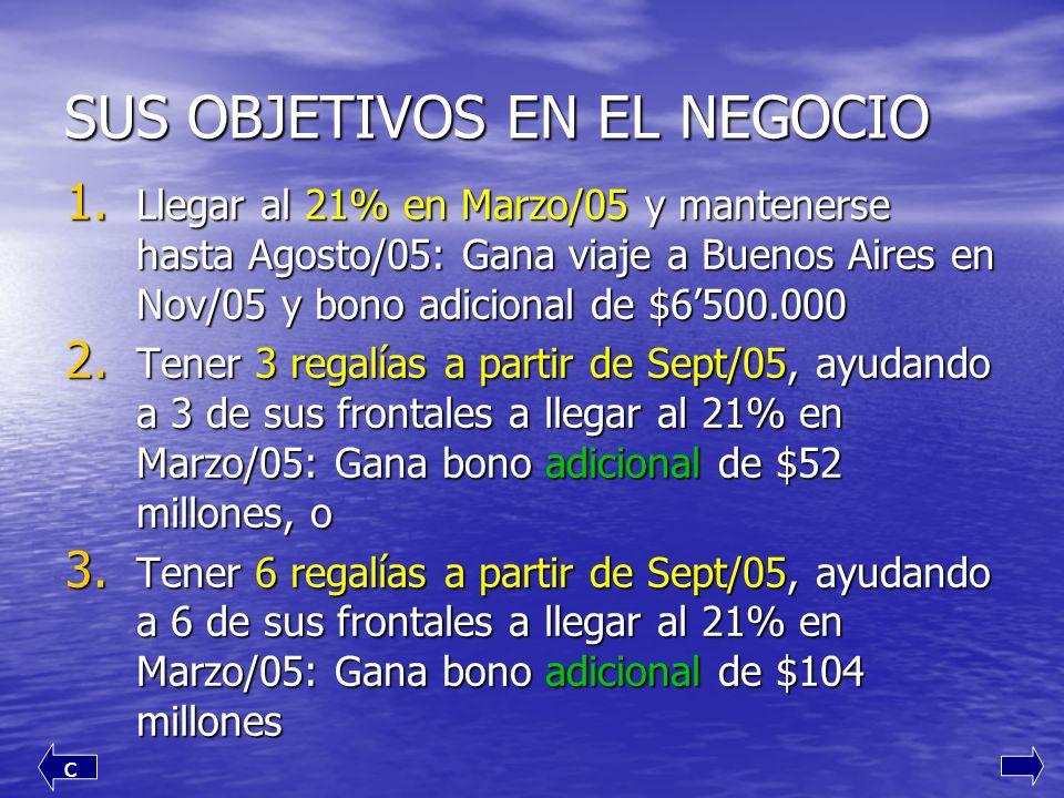 SUS OBJETIVOS EN EL NEGOCIO 1. L legar al 21% en Marzo/05 y mantenerse hasta Agosto/05: Gana viaje a Buenos Aires en Nov/05 y bono adicional de $6500.